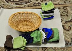Practical Life: Folding Cloths. Idea for Montessori at home.