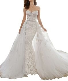 Wedding Dress,Sexy Elegant Women's Rhinestone Lace Mermaid Detachable