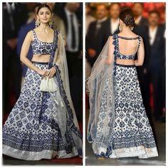 White and Navy blue thread embroidery lehenga Indian Lehenga, Lehenga Choli, Lehenga Designs, Indian Wedding Outfits, Indian Outfits, Indian Clothes, Dress Wedding, Trendy Fashion, Runway Fashion
