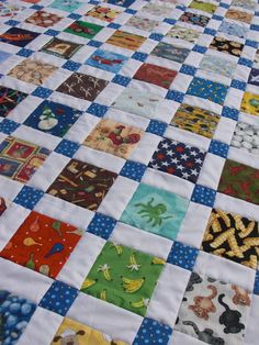 """From Obsessively Stitching, """"Disappearing Nine-Patch: I-Spy Version"""" She shows how to do sashing easily, via a disappearing nine-patch. If you use fabrics where direction doesn't matter much, this would be especially easy."""