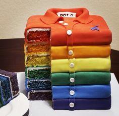 Polo shirt rainbow cake