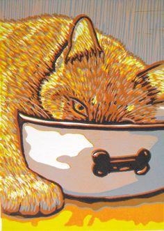 """""""Our cat (Marvin) thinks he's a dog"""" - linocut - Angela Katona-Batchelor, U.S.A."""