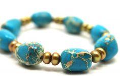 aqua terra jasper and freshwater pearls stretch bracelet ~ gorgeous stones!