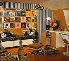 60s retro interior design music room attic