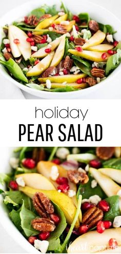 Fresh pear salad filled with mixed greens, juicy sliced pears, pomegranate seeds, candied pecans, feta cheese and topped with a balsamic dressing. This is the perfect salad to serve at your holiday dinner this year! #pears #pearsalad #salad #saladrecipes #holiday #holidayrecipes #holidaysalad #pomegranates #pomegranate #recipes #iheartnaptime