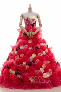 LD3872 Flower +Sequin レッド カラードレス