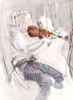 Watercolour sketch.    BSO Violinist at rehearsal. Felicity House