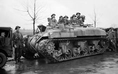 Infantry of the (Welsh) Division in a Ram Kangaroo of the Armoured Personnel Carrier Regiment, on the outskirts of Ochtrup, Germany, 3 April 1945 Canadian Army, British Army, Canadian Soldiers, Amphibious Vehicle, Ww2 Pictures, Ww2 Photos, Armoured Personnel Carrier, Sherman Tank, Armored Fighting Vehicle