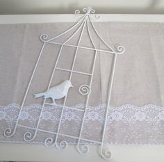 White metal bird cage wall card holder Spring by TapersnPetals