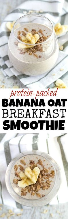 Eat Stop Eat To Loss Weight - Banana Oat Breakfast Smoothie - of whole food protein in a deliciously creamy smoothie that's guaranteed to keep you satisfied all morning! Breakfast Smoothie Recipes, Healthy Smoothies, Healthy Drinks, Breakfast Healthy, Banana Breakfast, Banana Protein Smoothie, Breakfast Protein Smoothie, Healthy Recipes, Easy Recipes