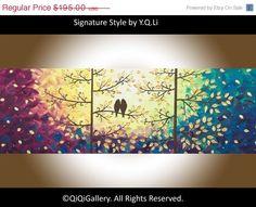 Original Impasto acrylic Palette Knife Love Birds door QiQiGallery