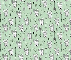 Cool white bunny and geometric arrows spring easter design in gender neutral mint green fabric surface design by Little Smilemakers on Spoonflower - custom fabric and wallpaper inspiration