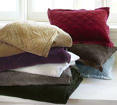 Washed Velvet Silk Quilt  Sham #potterybarn
