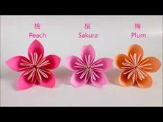 【折り紙】桃・桜・梅 立体の花 Peach Sakura Plum Flower - YouTube