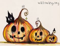 This is Tam's awesome art network where everyone is awesome by default, you can't help yourself, admit it. Halloween Rocks, Cute Halloween, Holidays Halloween, Vintage Halloween, Halloween Pumpkins, Halloween Crafts, Halloween Painting, Halloween Drawings, Halloween Clipart
