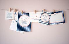 Not a big fan of nautical, but I do love the blue stripes. Nautical Design, Nautical Theme, Wedding Branding, Wedding Stationery, Wedding Images, Wedding Pictures, Wedding Ideas, Pink Invitations, Wedding Invitations