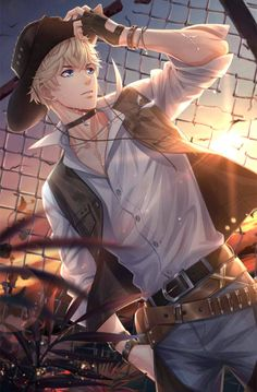 ♡~*ANiME ART*~♡ bishounen - beautiful anime boy - sporty fashion - glove - choker necklace - vest- jacket - belts - baseball cap - hat - listening to music - earbuds - sunset - sparkling - cool - cute - kawaii Hot Anime Boy, Cool Anime Guys, Handsome Anime Guys, Anime Boys, Anime Boy Smile, Manga Boy, Manga Anime, Anime Boy Drawing, Anime Cosplay