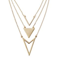 Women's Three-Row Long Necklace w/ Chevron & Triangle - Gold (32)