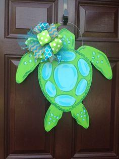 Your place to buy and sell all things handmade, Sea Turtle Door Hanger/Beach Door by TheGildedPolkaDot on Etsy. Turtle Birthday Parties, Turtle Party, Turtle Classroom, Burlap Door Hangers, Wooden Hangers, Wood Crafts, Diy Crafts, Turtle Crafts, Turtle Painting