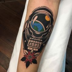 Astronaut Helmet by Aaron Murphy at Bloodlines Ink, Perth WA (My first tattoo)