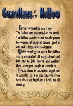 """Book of Shadows:  """"Guardians of the Hollow I."""""""