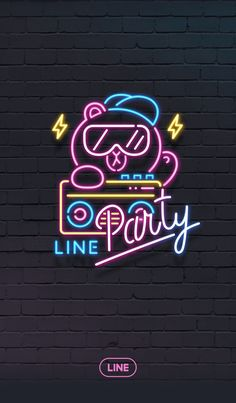 This cool neon-lit theme is ready to get its groove on! Join Brown, Cony, and the rest of the family for a night on the town! Lines Wallpaper, Bear Wallpaper, Iphone Wallpaper, Graffiti Characters, Friends Wallpaper, Neon Aesthetic, Bear Cartoon, Line Friends, Line Store