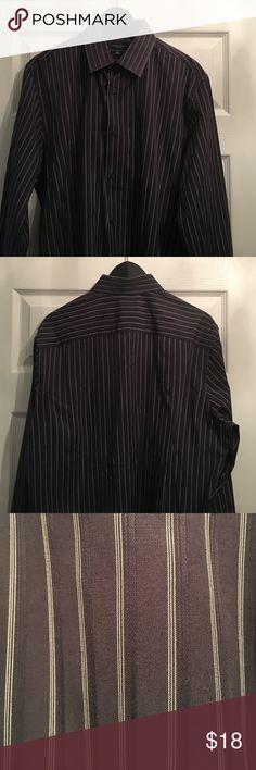Men's Banana Republic Striped Button Down Shirt Banana Republic, Large, Slim Fit. Gray striped dress shirt.  See Image!  Excellent condition! Worn once or twice.  Smoke-free home. Banana Republic Shirts Dress Shirts