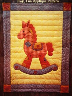Crib Quilt Rocking Horse Applique 45 X 60 Size Pattern Instructions Vintage…
