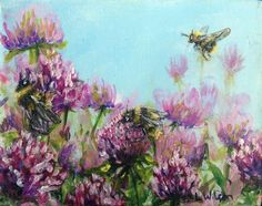 Acrylic on canvas, 13cm by 10cm The bumblebees just love clover in the spring around here. They are also really fun to paint.