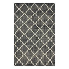 Wool and art silk rug with a trellis motif. Hand-knotted in India.  Product: RugConstruction Material: Wool and ...