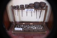 Debus Banten tool collection in the Museum of Antiquities Kasepuhan Palace, which looks rather terrible, with long metal rods that taper and sharp.
