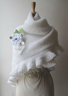 Knitting Bridal Shawl Wrap Plus Size Shrug by crochetbutterfly