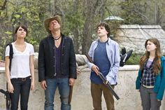Zombieland stars Jesse Eisenberg, Woody Harrelson, Emma Stone, and Abigail Breslin and was directed by Ruben Fleischer. It tells the story of Columbus Zombie Movies, Scary Movies, Great Movies, Horror Movies, Awesome Movies, Emma Stone, Abigail Breslin, Bill Murray, Zombieland Movie