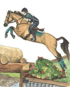 Buckskin Horse Leap Cross Country Jumping via Etsy