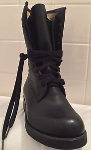 Black Leather Military Combat Cadet Boots Lace UP Moto Army MEN'S Size 6 5 | eBay