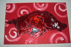 Razorback Sequin Canvas by samanthakurtz on Etsy~