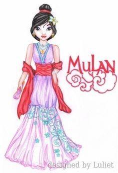 """Mulan-Disney Glamour ""-Design drawn by Luliet Disney Drawings, Cute Dolls, Creative Studio, Designs To Draw, Kids Girls, Pop Culture, Snow White, Aurora Sleeping Beauty, Glamour"