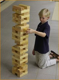 "Jumbo Jenga Make it super simple by buying 1x1 and cutting them down to 3"". 54 are need for the game"