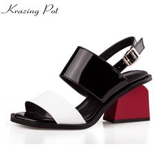 46.90$  Watch now - http://ali12p.shopchina.info/1/go.php?t=32799019478 - 2017 New fashion patent square peep toe ankle buckle straps women sandals red high heels mixed colors summer causal shoes L47  #buyonlinewebsite