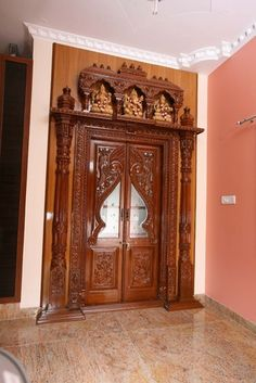 Main door design entrance hallways 19 ideas for 2019 Traditional Front Doors, Mandir Design, Wooden Main Door Design, Pooja Room Door Design, Puja Room, Room Doors, Wooden Doors, Pooja Mandir, Chinese Interior