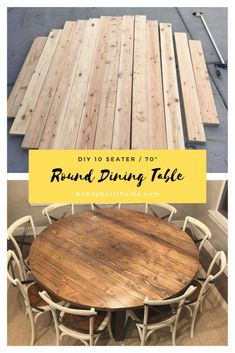 DIY Round Dining Table – Honey Built Home Dining Room table Round Farmhouse Table, Large Round Dining Table, Round Wood Table, Round Kitchen Tables, Round Tables, Small Dining, Dinning Room Tables, Diy Dining Table, Rustic Table