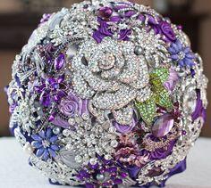 "Royal Purple Wedding Brooch Bouquet. Deposit ""Purple Moon"" Crystal Rhinestone Silver Lavender Bridal Broach Bouquet, by Ruby Blooms Wedding"