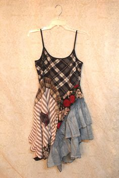 REVIVAL Boho Shirt, Shabby Chic Romantic, Bohemian Junk Gypsy Style, Mori Girl, Lagenlook, Cowgirl Country Girl Chic, Free People Style, Anthropologie Inspired, Grunge Rocker Goth Plaid