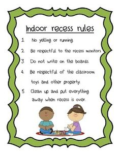 A list of 5 indoor recess rules to keep your kids in order during lunchtime recess when you aren't in the classroom