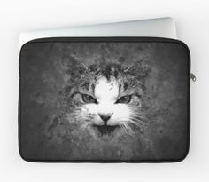 Cat No.1 Laptop Pouch #cute #pets #blackandwhite #striking #art #digitalart #funny #monochrome #animals #beautiful #cool #awesome #style #stylish #fierce #animalart #catart #kittenart