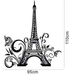 "Amazon.com - Tall Eiffel Tower Wall Decal Huge Paris City Sticker Decor Wall Sayings Decal Vinyl Wall Art Words Lettering Quotes Mural Art Room Home- Size 23.6"" X 42.5"" 19.90+3.99"