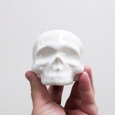 Ceramic Skull Gloss White by mudpuppy on Etsy