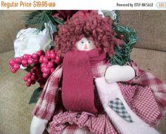Folk Art Doll Red Yarn Hair Soft Sculpture Rag Doll by Holiday365
