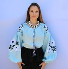 Beautiful embroidered quality linen, bohemian folk blouse Please understand that this item is not mass produced, they are made to order. Although we can custom make any color and or style, they are ea