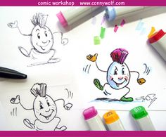Comic - die Kunst der reduzierten Ausdrucksform. Comic Workshops für Schulen in Österreich - Kontakt www.connywolf.com Molotow Marker, Copic, Workshop, Wolf, Markers, Snoopy, Fictional Characters, Art, Paper